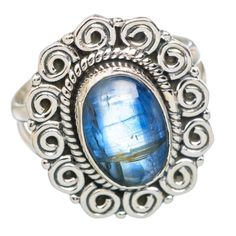 Rare Kyanite 925 Sterling Silver Ring Size 7.75 RING768840