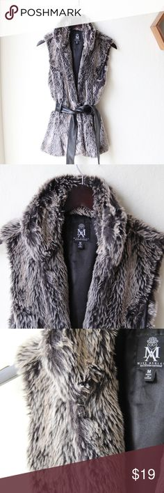 """Faux Fur Vest Comes with a belt. Has clasps that can use to close it, 1 needs to be resewn. Measures 27"""" from collar. Miss Ashley Jackets & Coats Vests"""