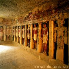 EGYPT. The tomb of Irukaptah at Saqqara, Dynasty 5. // Beautifully preserved Old Kingdom rock-cut architecture, with paint mostly intact.