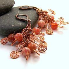 wire wrapped earrings - peach