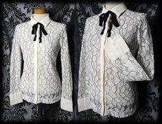 Gothic Cream Sheer Lace CYANIDE Black Pussy Bow Blouse 10 12 Victorian Vintage
