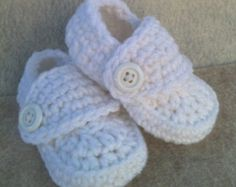 Crocheted Baby Boy Loafer Booties in White Blessing Christening Baptism 0-3 months Shoes Special Occasion shower gift