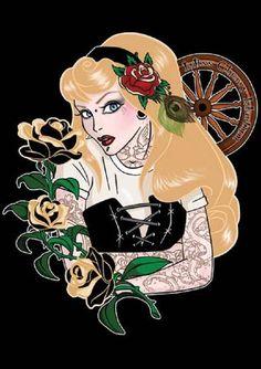 Tattooed Aurora by Miss Cherry Martini Punk Princess Canvas Art Print – moodswingsonthenet Dark Disney, Disney Love, Disney Art, Disney Girls, Goth Disney, Disney Stuff, Alternative Disney Princesses, Punk Disney Princesses, Disney Characters