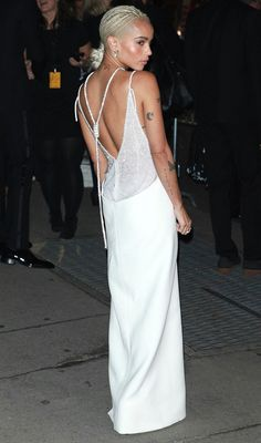 Zoe Kravitz in an open-back white Versace dress - click ahead to see more dresses from the back