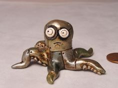Miniature Steampunk Octopus original art signed by JanellBerryman, $65.00