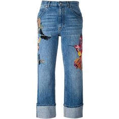 Alexander McQueen embroidered boyfriend jeans (2.110 RON) ❤ liked on Polyvore featuring jeans, pants, bottoms, blue, blue jeans, frayed-cuff jeans, boyfriend fit jeans, alexander mcqueen and cuff jeans