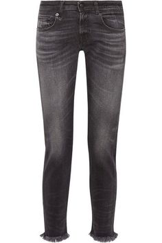 R13 - Boy Skinny Frayed Mid-rise Slim Boyfriend Jeans - Charcoal - 27