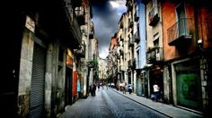 opening shops in a side street of girona.Art on the Street Girona. Beautiful Wallpaper Hd, World Famous Artists, Hdr Photography, High Resolution Wallpapers, Places To Travel, Beautiful Places, Street View, Around The Worlds, Landscape