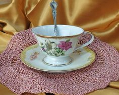 Vintage Tea cup, Saucer, with Teaspoon AND Doily, lustreware, Noritake *et #Various