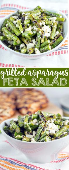 Grilled asparagus, tangy feta cheese, and a splash of lemon juice — grilled asparagus and feta salad is the perfect quick and easy early summer salad. {Bunsen Burner Bakery} via @bnsnbrnrbakery