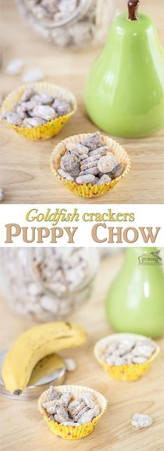 A unique twist to a classic Puppy Chow mix recipe! The perfect blend of chocolate, peanut butter and Goldfish crackers in a delicious snack mix families love. #MixMatchMunch AD