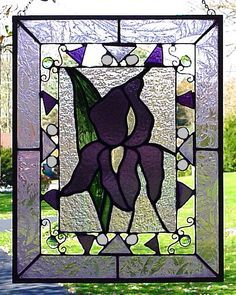 Hey, I found this really awesome Etsy listing at https://www.etsy.com/listing/172711101/purple-iris-stained-glass-panel