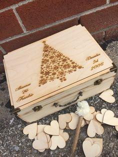 Christmas Wedding Guest Book  / guest book / memory box / wood burned box / keepsake box / rustic guest book / christmas wedding