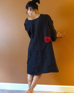 handmade to measure pleated flowers eco linen dress by annyschooecoclothing