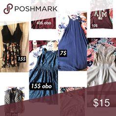 Dresses/sweaters/shirts Navy dress (M) Detailed Navy dress (L) Crop top (M)  Sweater vest (M)  A&m sweater (M) A&m shirt (M)  White dress (L)  Black dress (L) Charlotte Russe Dresses Midi