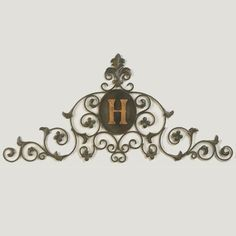 Tuscan Monogrammed Iron Metal Fleur De Lis Wall Topper Swag Grille by Cheap-Chic Decor, http://www.amazon.com/dp/B008649AF8/ref=cm_sw_r_pi_dp_srevrb1TP2VKP