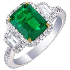 2.91 carat Emerald Diamond Ring | From a unique collection of vintage three-stone rings at https://www.1stdibs.com/jewelry/rings/three-stone-rings/