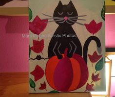 Shared at Thank Goodness It's Thursday: Acrylic, Painting, Halloween, Cat, Pumpkin, Kitty, Cat