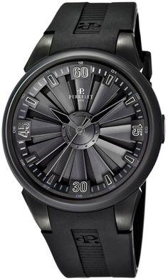Perrelet Watch Turbine All Black #bezel-fixed #bracelet-strap-rubber…