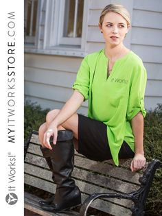 3/4 Sleeve Asymmetrical Hem Green Blouse // So many ways to wear, so many reasons to LOVE! Whether you pair with jeans, leggings, or skirts, this blouse is a guaranteed favorite. Black nailhead brings a little black to the green party. #ItWorksStyle https://myitworksstore.com/apparel/ladies/3-4-sleeve-green-blouse.html