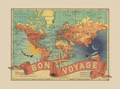 Vintage Map Art, Small Bon Voyage, Vintage Travel World Map Art World Map Art, Map Globe, Map Wall Art, Photos Voyages, Vintage Maps, Vintage Travel, Peta, New Art, Canvas Art
