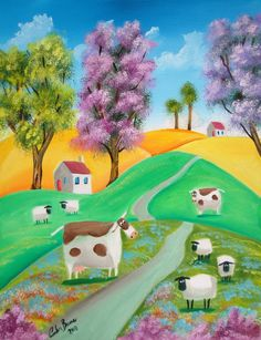 UK ~ Sheep and Cows Naive Painting ~ by Gordon Bruce