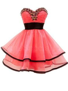 Exquisite Watermelon Ball Gown Sweetheart Mini Prom Dress