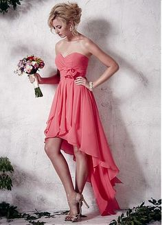 Buy discount Glamorous Chiffon Sweetheart Neckline Hi-lo A-line Bridesmaid Dress at Dressilyme.com