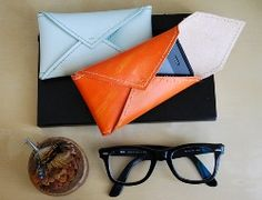 Envelope style leather sunglasses pouch