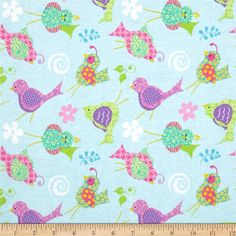 Tossed Birds Flannel Blue/Multi from @fabricdotcom  From Fabric Traditions, this double napped (brushed on both sides) flannel is perfect for quilting, apparel and home décor accents. Colors include white, pink, blue, green, purple and yellow.