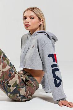 FILA + UO Hoodie Cropped Sweatshirt | Urban Outfitters