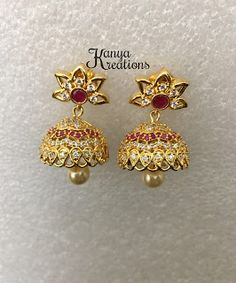 Indian trendy and ethnic apparels, jewelry and accessories at affordable prices. Check out our exclusive girls pavadai / Langas collections. Gold Jhumka Earrings, Jewelry Design Earrings, Jewellery, Drop Earrings, Gold Ornaments, Jewelry Boards, Ear Rings, Chains, Hoop