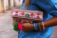 Bright embellished clutches.