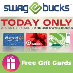 All $5.00 gift cards are on sale for 450 Swagbucks today (Aug. 1). If you aren't earning FREE GIFT CARDS, time to sign-up for Swagbucks --> http://freebies4mom.com/sbgcsale/