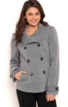 Deb Shops Double Breast Fleece with High Collar and Set in Waist $21.00