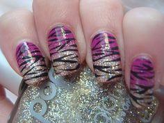 purple and gold zebra print nails - Google Search