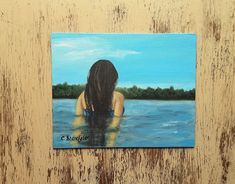 "Landscape painting Lakeside painting Woman in water painting Acrylic painting Affordable art Under 100 dollars ""Calm contemplation"" Seascape Paintings, Your Paintings, Landscape Paintings, Watercolor Paintings, Original Paintings, Watercolor Cards, Watercolor Flowers, Unique Cards, Affordable Art"
