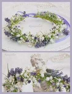 Haarkranz mit Lavendel und Schleierkraut ... für die Braut zur Hochzeit und jeden anderen schönen Tag. Hair Rings, Violet Hair, Gypsophila, Hair Wreaths, Hair Decorations, Hair Jewelry, Flower Jewelry, Lavender Flowers, Floral Crown