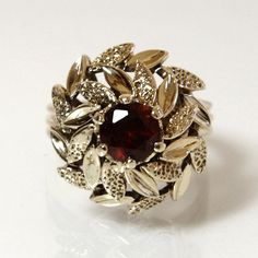 Garnet Ring 10K Yellow Gold Size 4 With Leaf by GregDeMarkJewelry