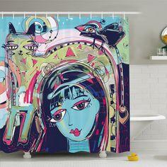 Modern Art Home Funk Style Avatar Woman with Cat on Head Graffiti Unusual Human Humor Art Shower Curtain Set