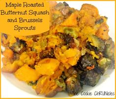 maple roasted butternut squash with brussel sprouts