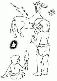 CriaArte: Pinte o desenho com as cores predominantes na pré-história! Prehistoric Age, Paleolithic Era, Stone Age Art, Lascaux, Vader Star Wars, Ice Age, Preschool Art, Colouring Pages, Art For Kids