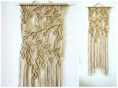 "FREE SHIPPING WITHIN USA  Macrame wall hanging - Sprigs #2 - unique and stylish wall decor for your home or office. Handmade, original idea and design by Evgenia Garcia.  Color: tan  Sizes: Dowel width – 18.5 (47 cm) Panel height from dowel to longest end – 47.5"" (121 cm) Cord diameter 4 mm  NOTE:  1. The colors on your display may differ slightly from actual colors. 2. Clean the dust with a soft brush gently.  If you have any questions about this item - please contact me. I am ready to…"