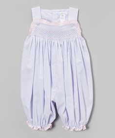Loving this Lavender & Pink Dot Smocked Bubble Romper - Infant on #zulily! #zulilyfinds