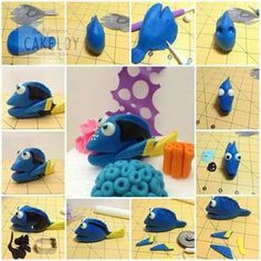 Tutorial pesce in pdz / sugarpaste fish tutorial Dory tutorial (Finding Nemo) - by The Cakeldy Make your own Dory. This Dory tutorial uses fondant for cakes, but could easily be done using polymer clay or playdough. From The CakeLdy Dory figurine from fin Fondant Toppers, Fondant Cakes, Fondant Baby, Fondant Rose, Fondant Flowers, Dory Cake, Finding Nemo Cake, Finding Dory, Decors Pate A Sucre