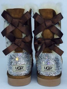 Custom Bailey Bow Chestnut UGG Boots made with Swarovski Bailey Bow Free: Shipping,Repair Kit, Cleaning Kit, Crystal Color, 48 hr Turnaround Ugg Snow Boots, Winter Boots, Winter Snow, Ugg Boots With Bows, Bow Boots, Warm Boots, Flat Boots, Ugg Australia, Original Ugg Boots