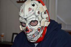 "Gary Bromley ""Skull"" mask  Vancouver Canucks 1978-1981 Hockey Goalie, Ice Hockey, Nhl, Goalie Mask, Skull Mask, Cool Masks, Masked Man, Vancouver Canucks, Mask Design"