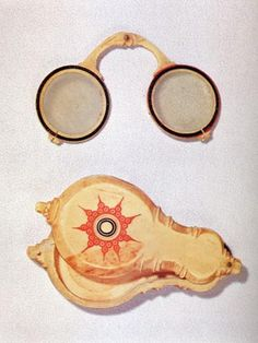 15th century eyeglasses. Hinged nose piece so they can fit in carrying case.