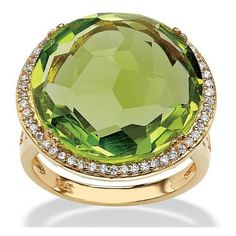 PalmBeach Jewelry .27 TCW Checkerboard-Cut Simulated Peridot and CZ... ($40) ❤ liked on Polyvore featuring jewelry, rings, lemon, 14k cubic zirconia rings, 14 karat gold ring, 14k gold plated ring, peridot jewelry and cubic zirconia cocktail rings