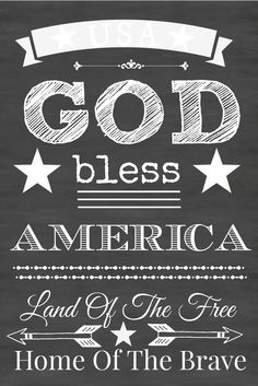 GOD BLESS AMERICA FREE CHALKBOARD PRINTABLE